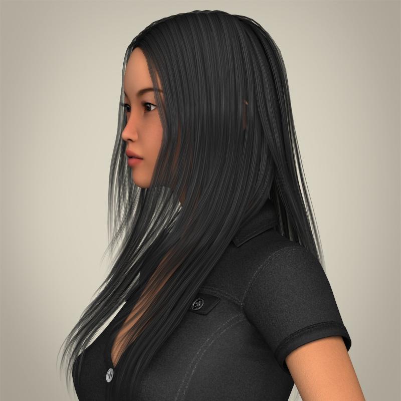 realistic japanese beautiful girl 3d model 3ds max fbx c4d lwo ma mb texture obj 213766