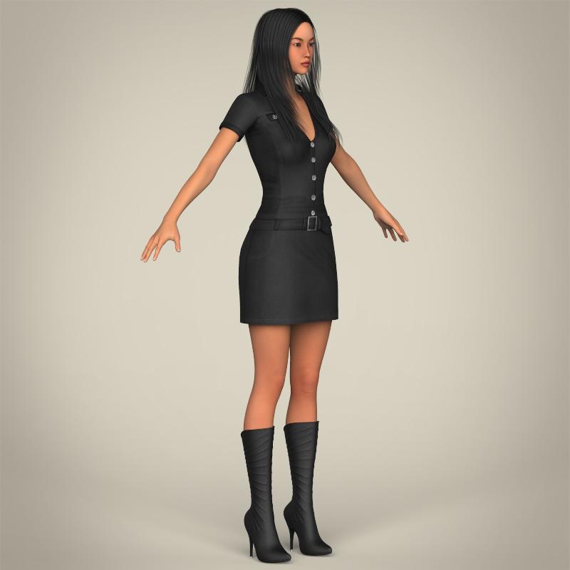 realistic japanese beautiful girl 3d model 3ds max fbx c4d lwo ma mb texture obj 213777