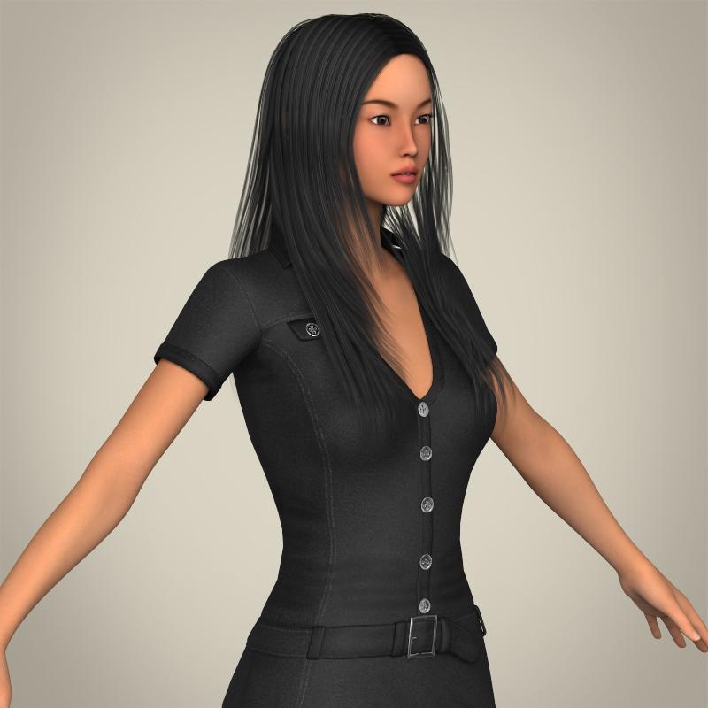 realistic japanese beautiful girl 3d model 3ds max fbx c4d lwo ma mb texture obj 213778