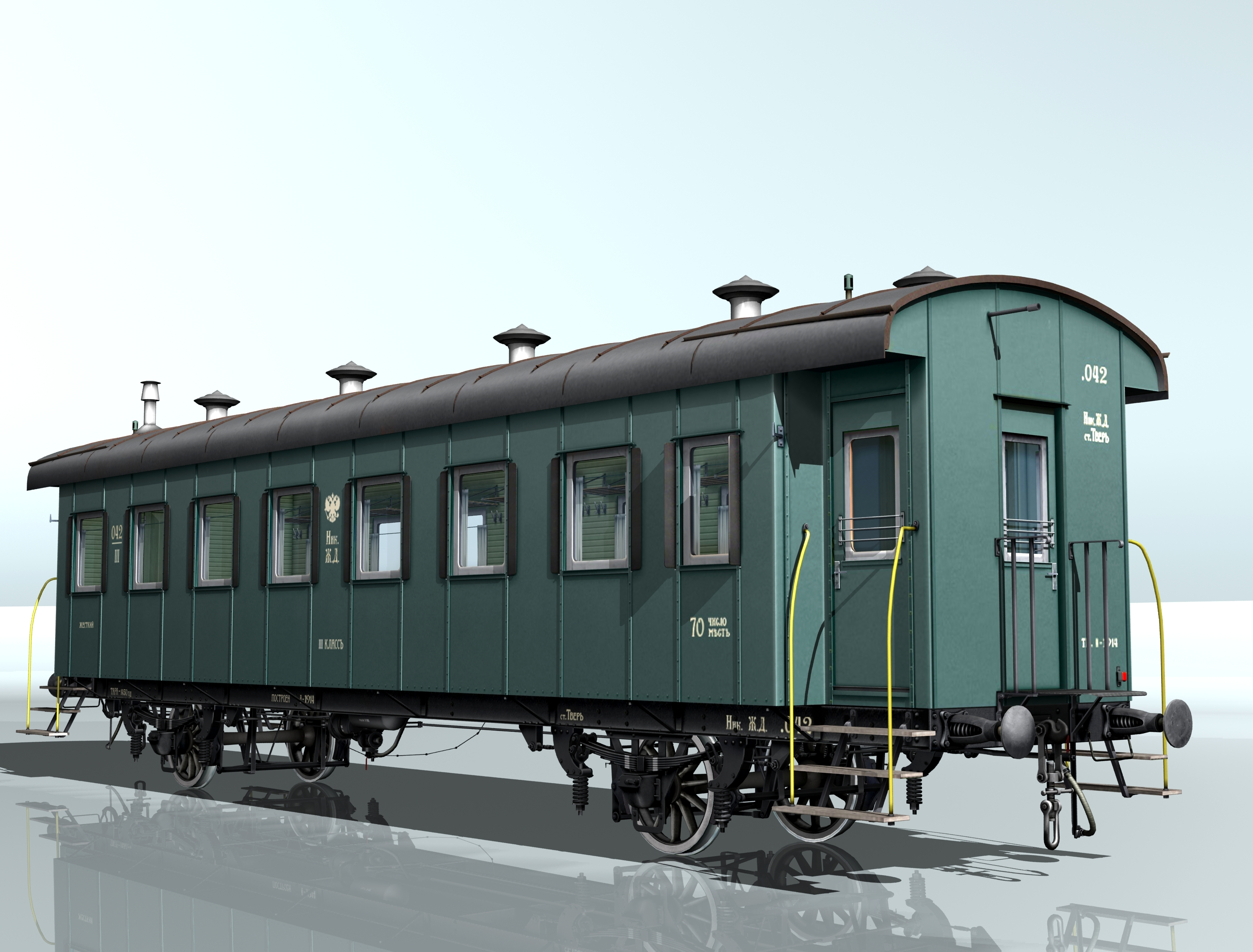 passenger wagon iii class 2-axles 3d model 3ds max fbx obj 213894
