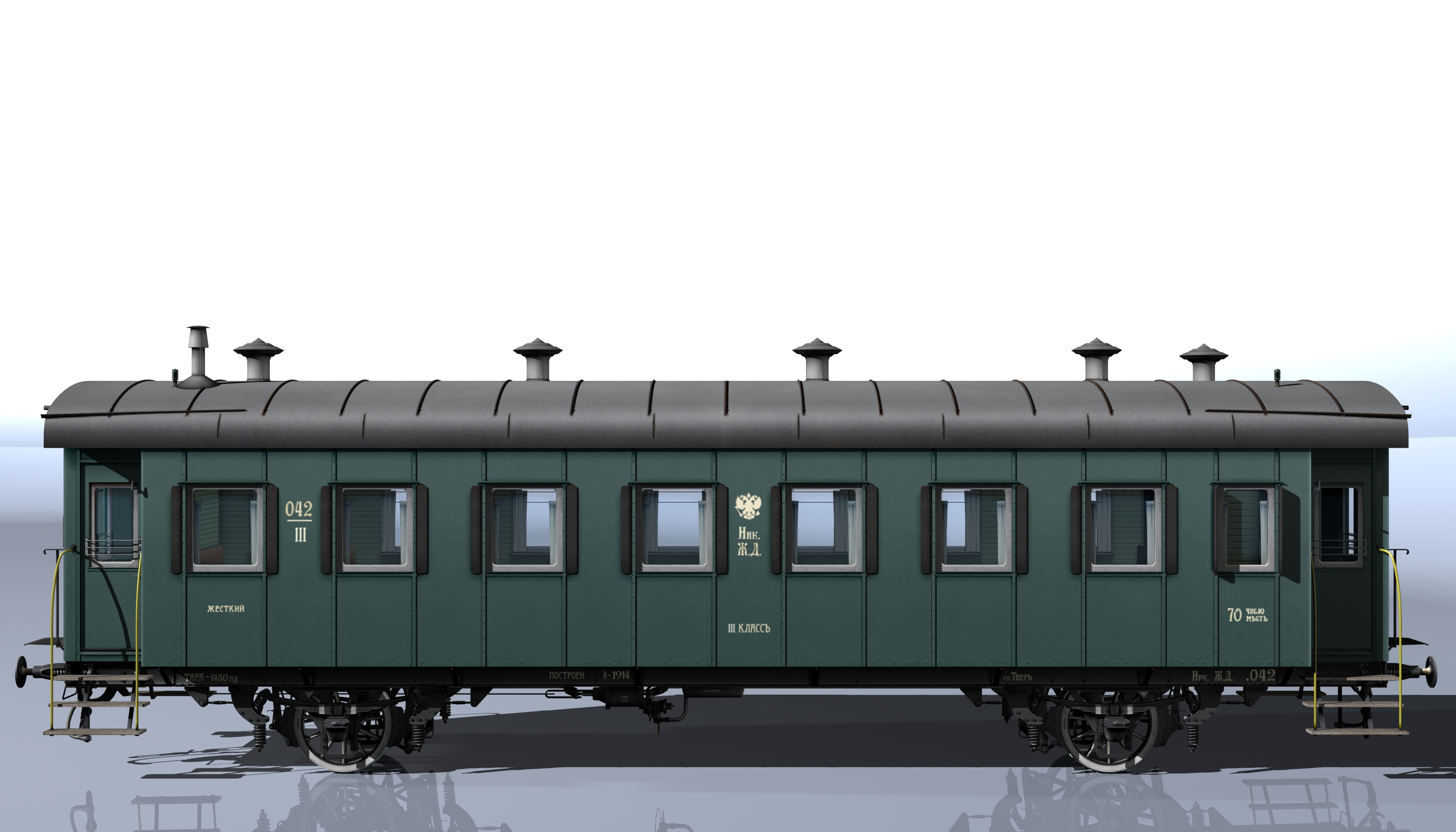 passenger wagon iii class 2-axles 3d model 3ds max fbx obj 213895
