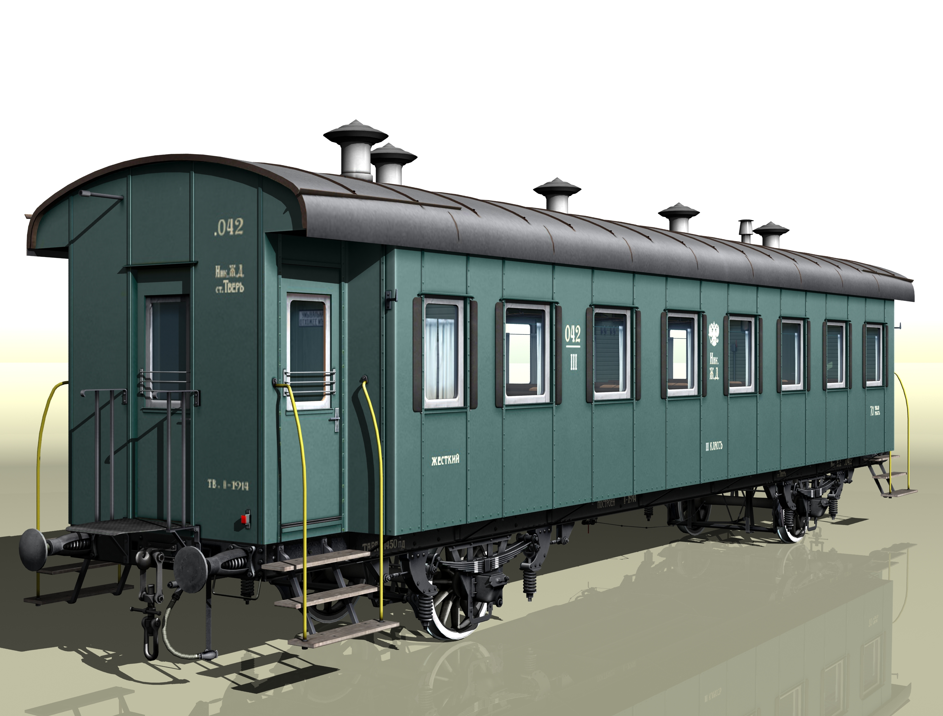 passenger wagon iii class 2-axles 3d model 3ds max fbx obj 213897