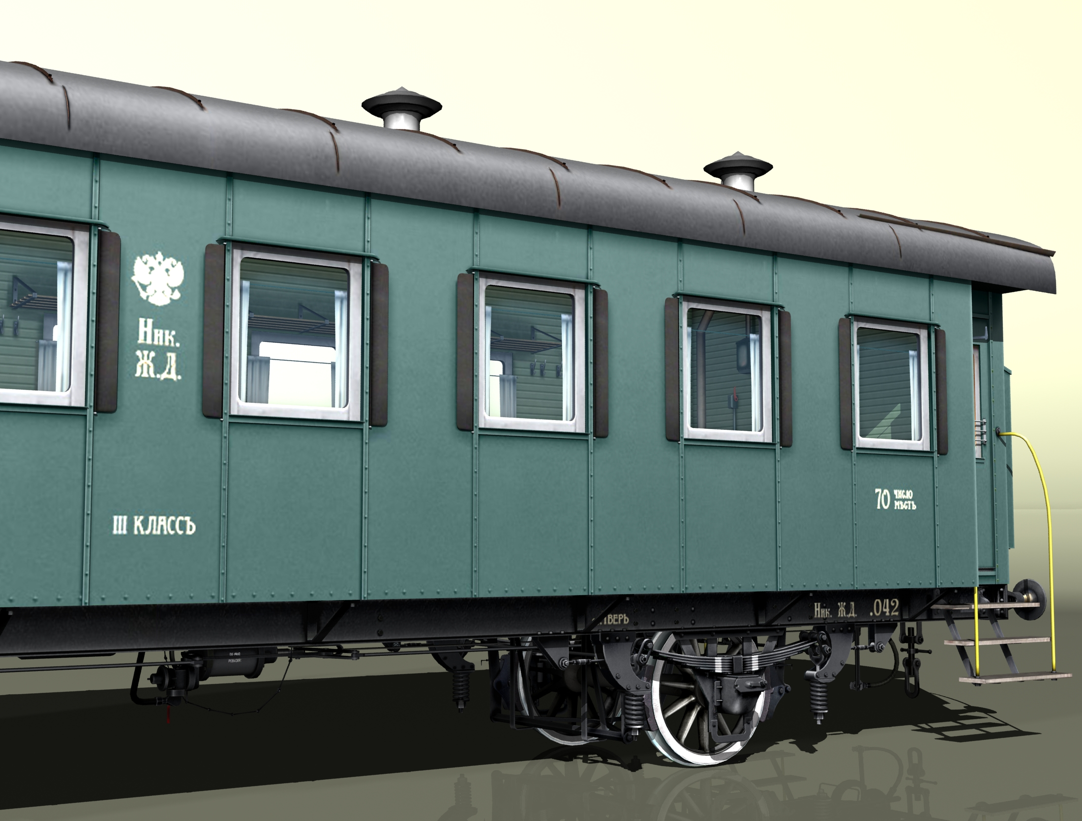 passenger wagon iii class 2-axles 3d model 3ds max fbx obj 213902