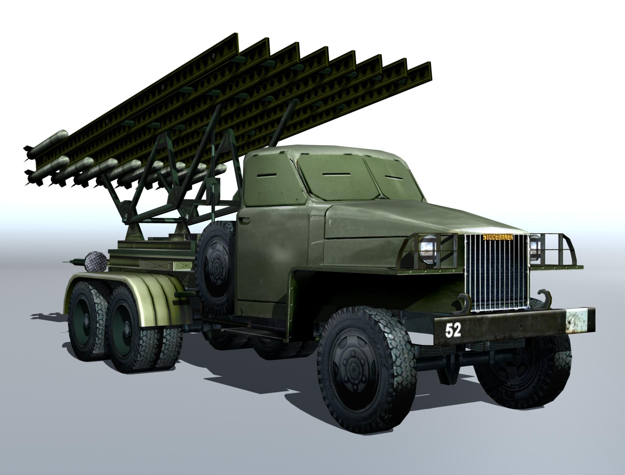 """bm-13 - instalācijas raķešu artilērijas """"katusha"""". 3d modelis 3ds max fbx obj 213992"""