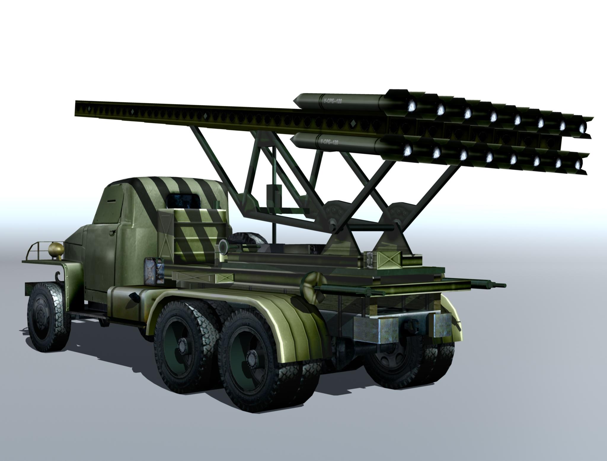 bm-13 – installation rocket artillery 'katusha'. 3d model 3ds max fbx obj 213996