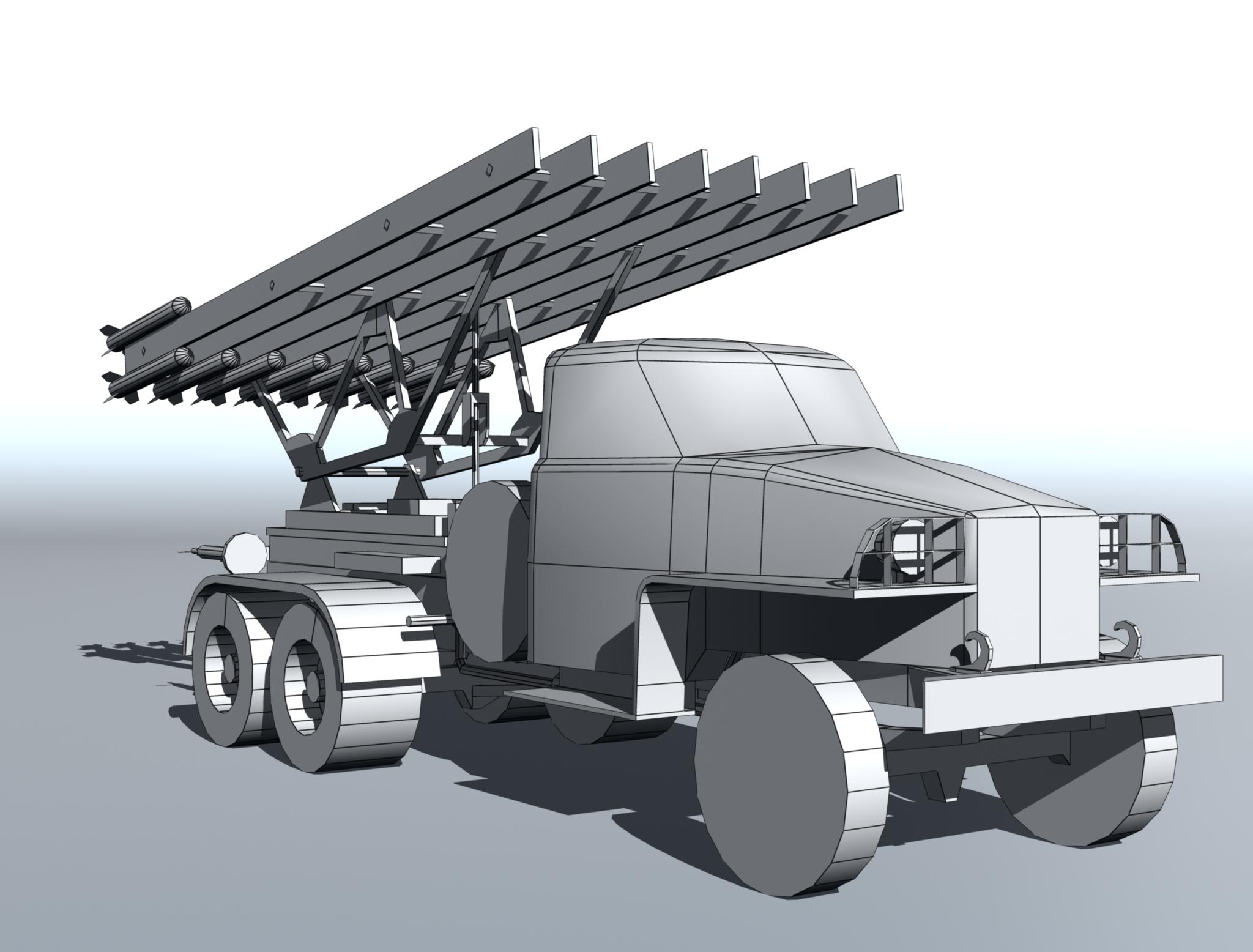 bm-13 – installation rocket artillery 'katusha'. 3d model 3ds max fbx obj 213997