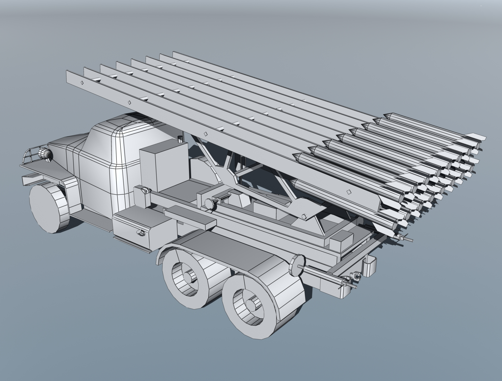 bm-13 – installation rocket artillery 'katusha'. 3d model 3ds max fbx obj 213998