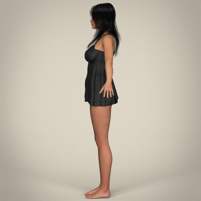 realistic sexy babydoll girl 3d model 3ds max fbx c4d lwo ma mb texture obj 214076