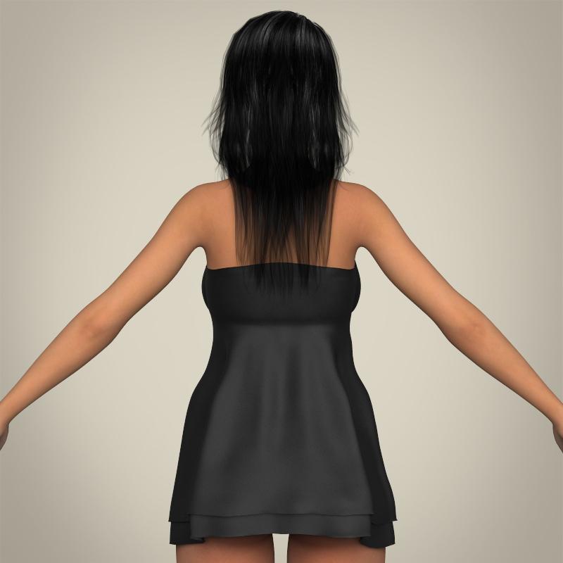 realistic sexy babydoll girl 3d model 3ds max fbx c4d lwo ma mb texture obj 214077