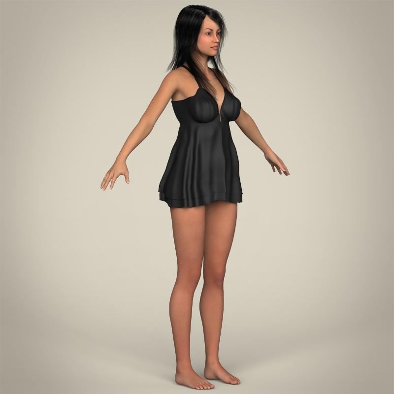 realistic sexy babydoll girl 3d model 3ds max fbx c4d lwo ma mb texture obj 214080