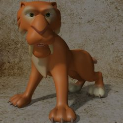 Cartoon Sabertooth Tiger RIGGED 3d model 0