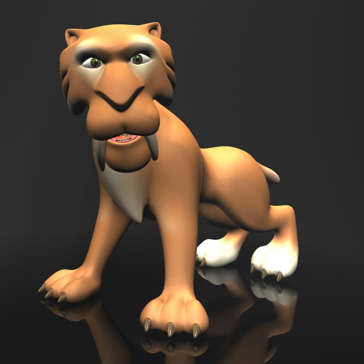 cartoon sabertooth tigër manipuluar 3d model 3ds max fbx obj 214099
