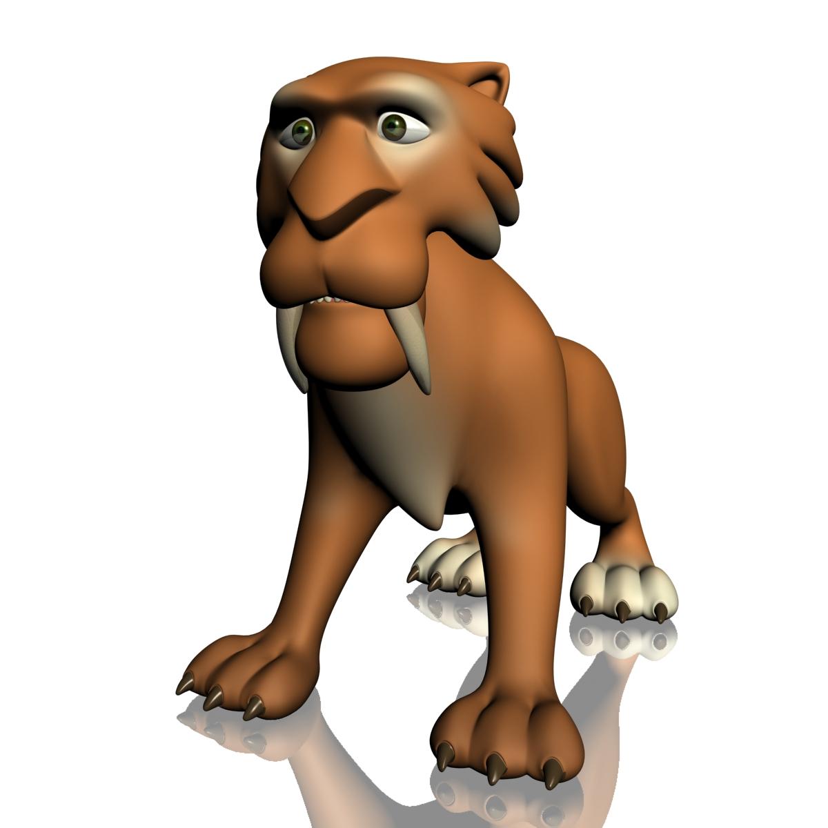 cartoon sabertooth tigër manipuluar 3d model 3ds max fbx obj 214100