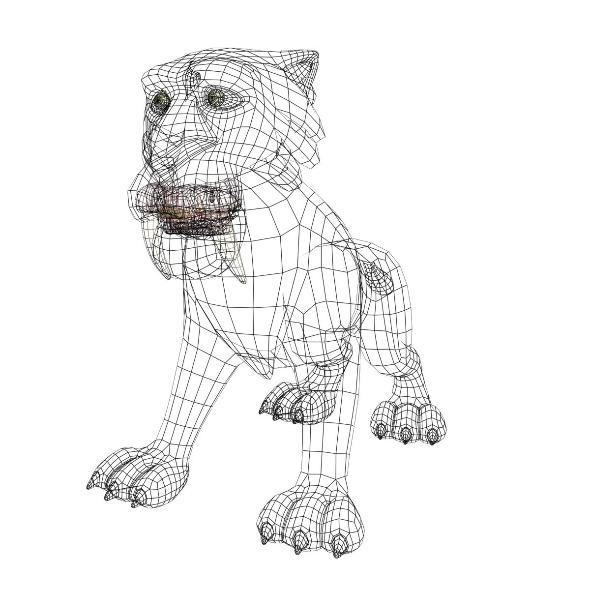cartoon sabertooth tigër manipuluar 3d model 3ds max fbx obj 214103