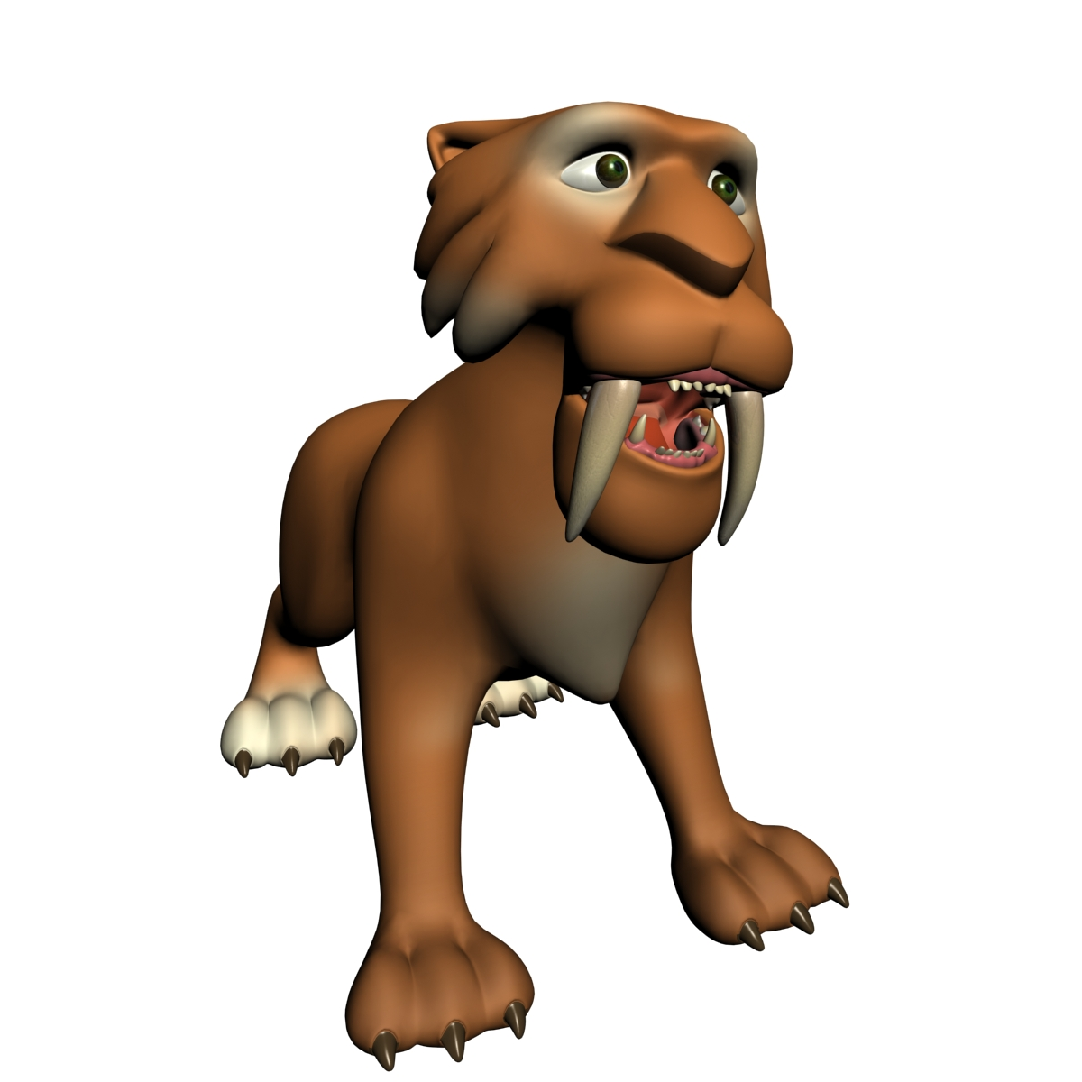 cartoon sabertooth tiger rigged 3d model animal types creature 3ds