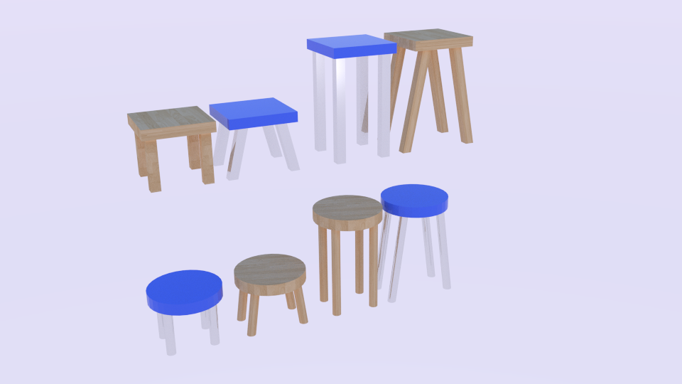 low poly stool pack 3d model blend 214159
