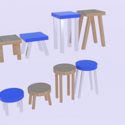 Low Poly Stool Pack 3d model blend