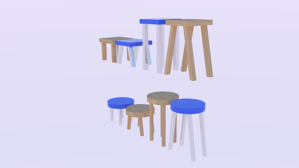 low poly stool pack 3d model blend 214160
