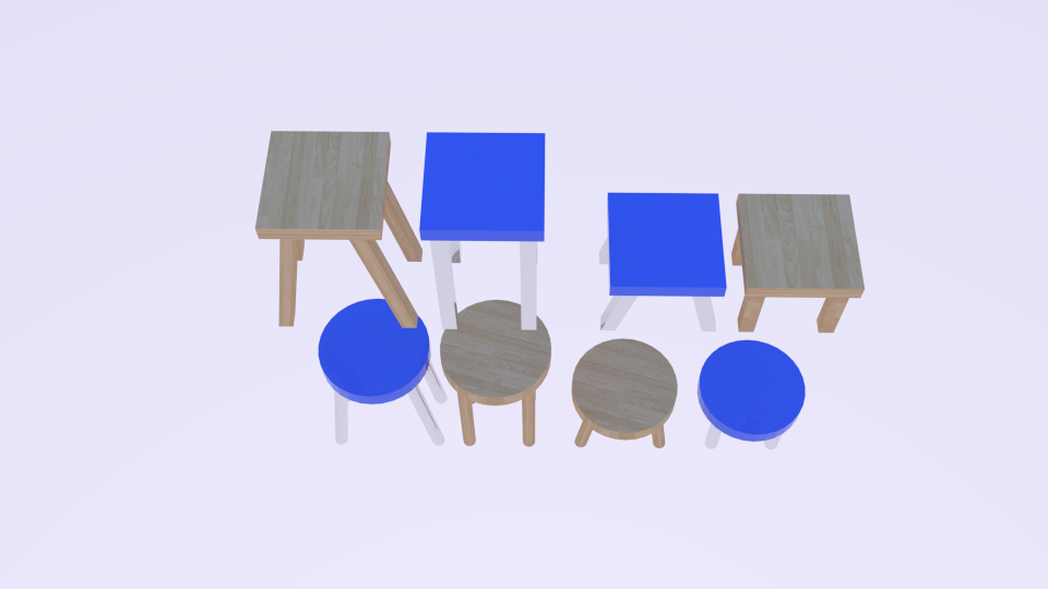 low poly stool pack 3d model blend 214161