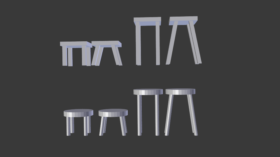 low poly stool pack 3d model blend 214162