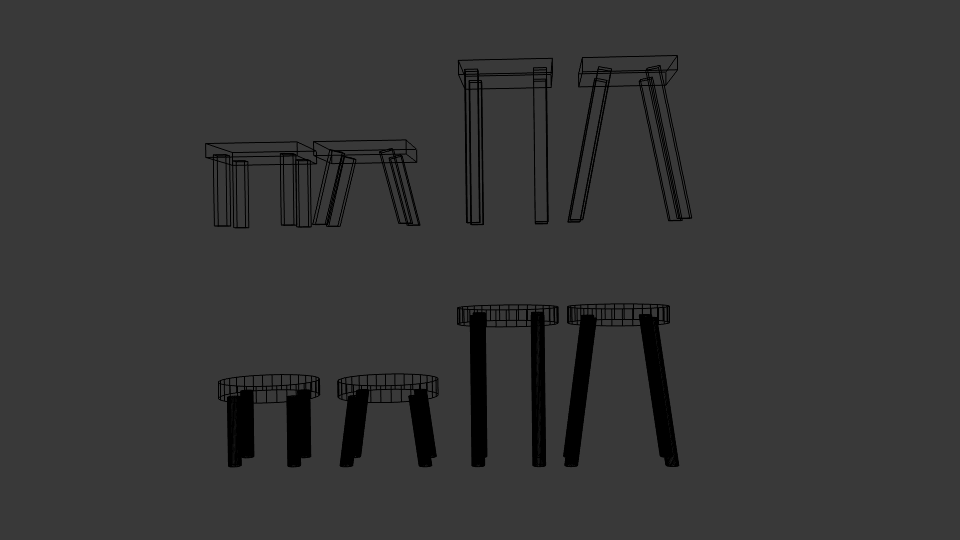 low poly stool pack 3d model blend 214163