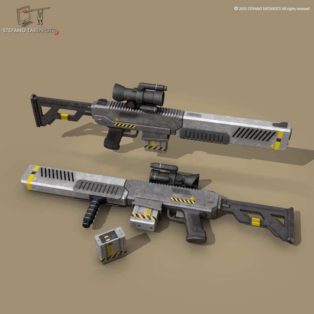 sci fi battle rifle 3d model 3ds dxf fbx c4d dae obj 214177