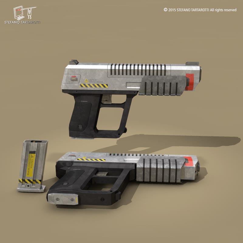 sci fi gun 3d model 3ds dxf fbx c4d dae obj 214612
