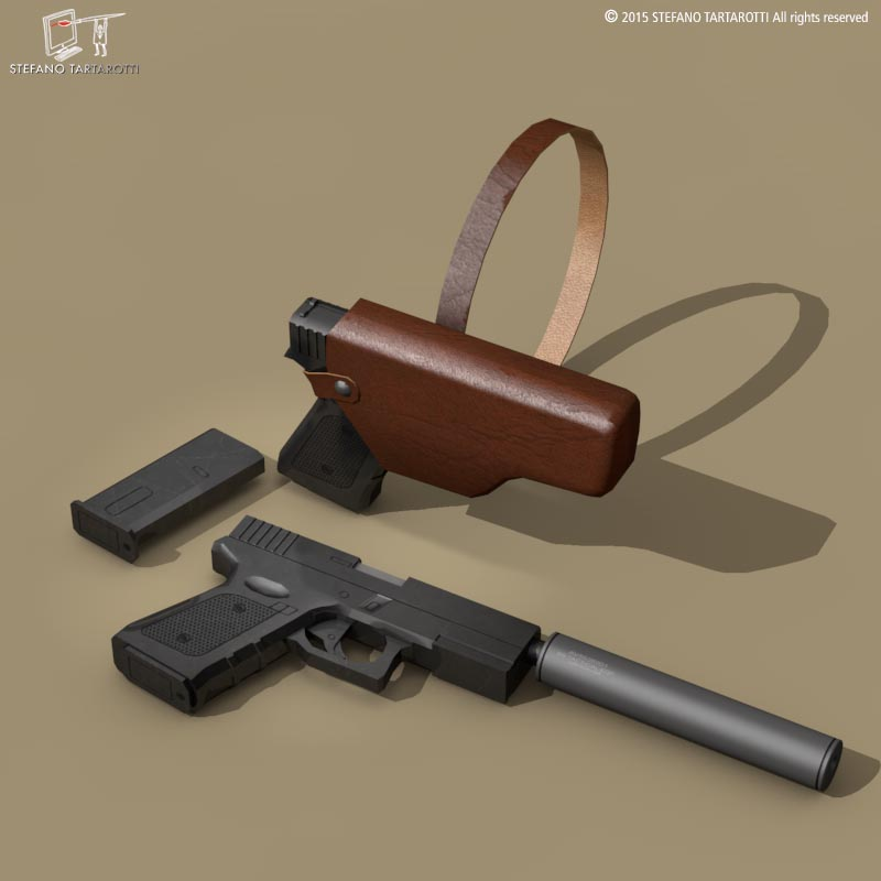 9mm pistolet 3d model 3ds dxf fbx c4d dae obj 214618