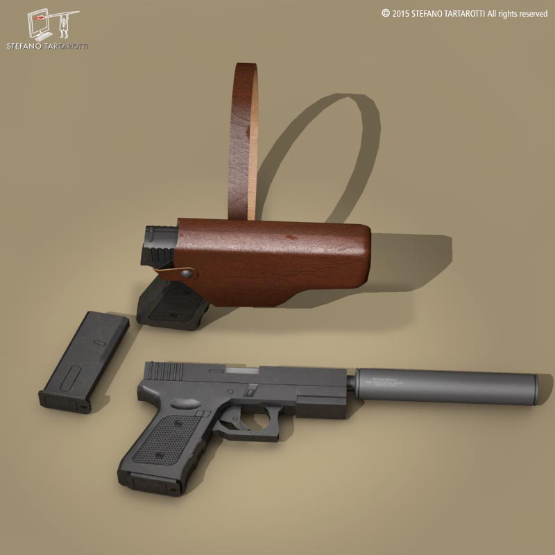 9mm handgun 3d model 3ds dxf fbx c4d dae obj 214619