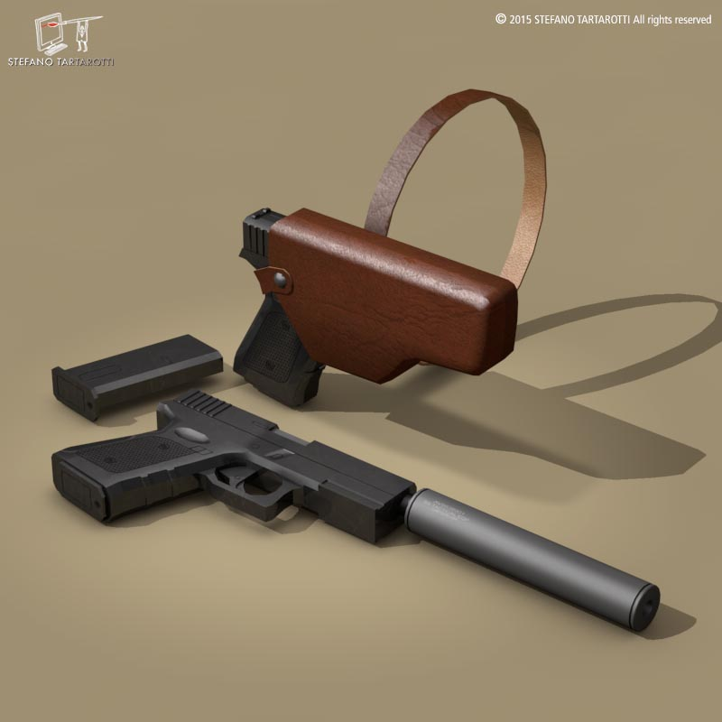 9mm handgun 3d model 3ds dxf fbx c4d dae obj 214620