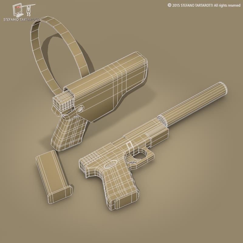 9mm handgun 3d model 0