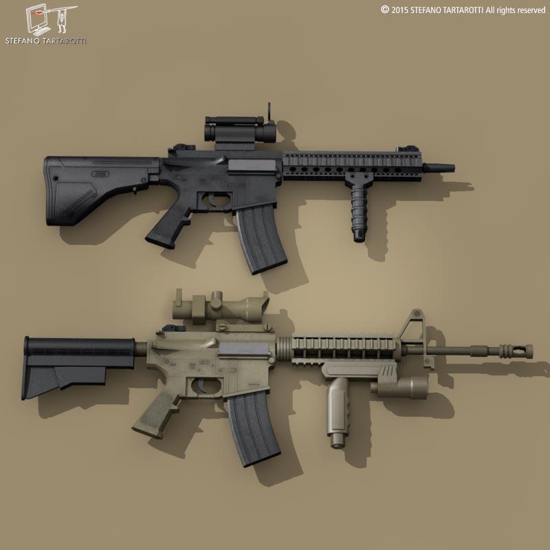 M4 rifle 3d model 3ds dxf fbx c4d dae obj 214624
