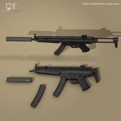 MP5 rifle 3d model 3ds dxf fbx c4d dae obj