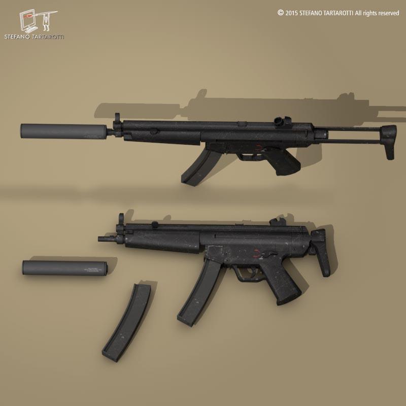 MP5 rifle 3d model 3ds dxf fbx c4d dae obj 214635