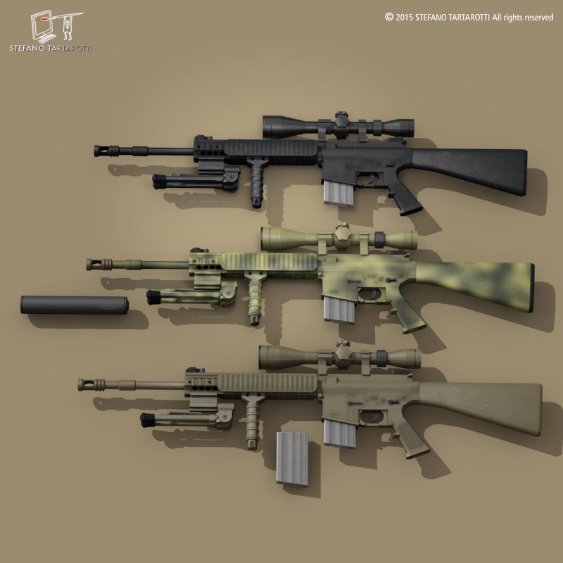 mk12 sniper rifle 3d model 3ds dxf fbx c4d dae obj 214641