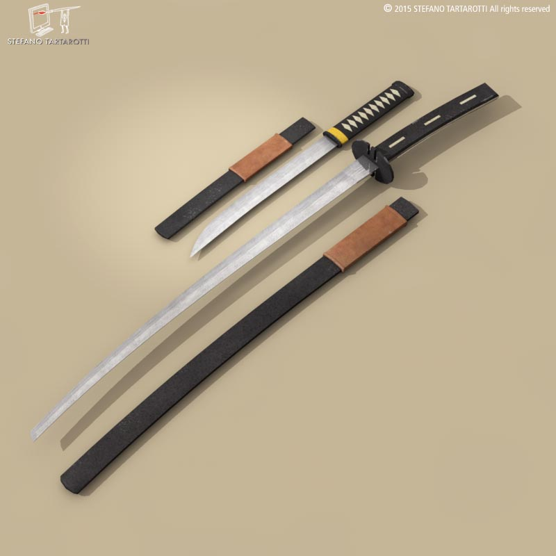 katana and wakizashi 3d model 3ds dxf fbx c4d dae obj 214676