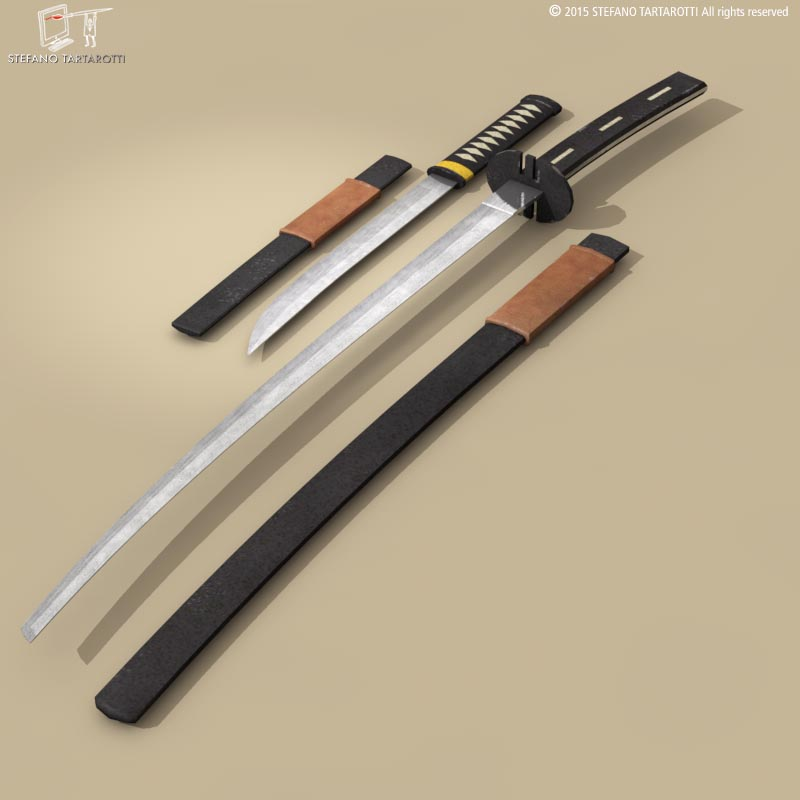 katana and wakizashi 3d model 3ds dxf fbx c4d dae obj 214677