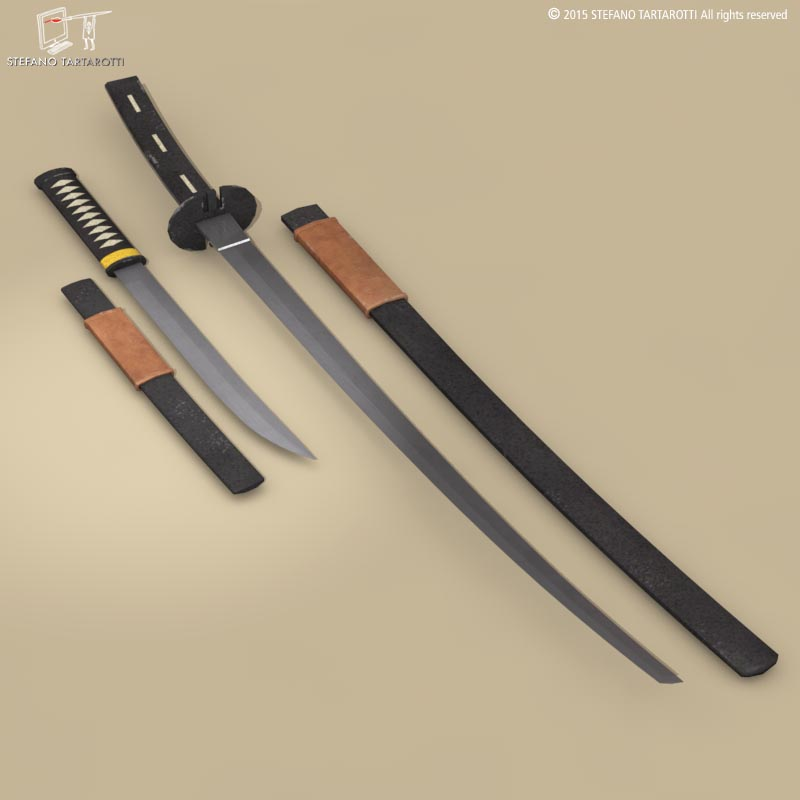 katana and wakizashi 3d model 3ds dxf fbx c4d dae obj 214678