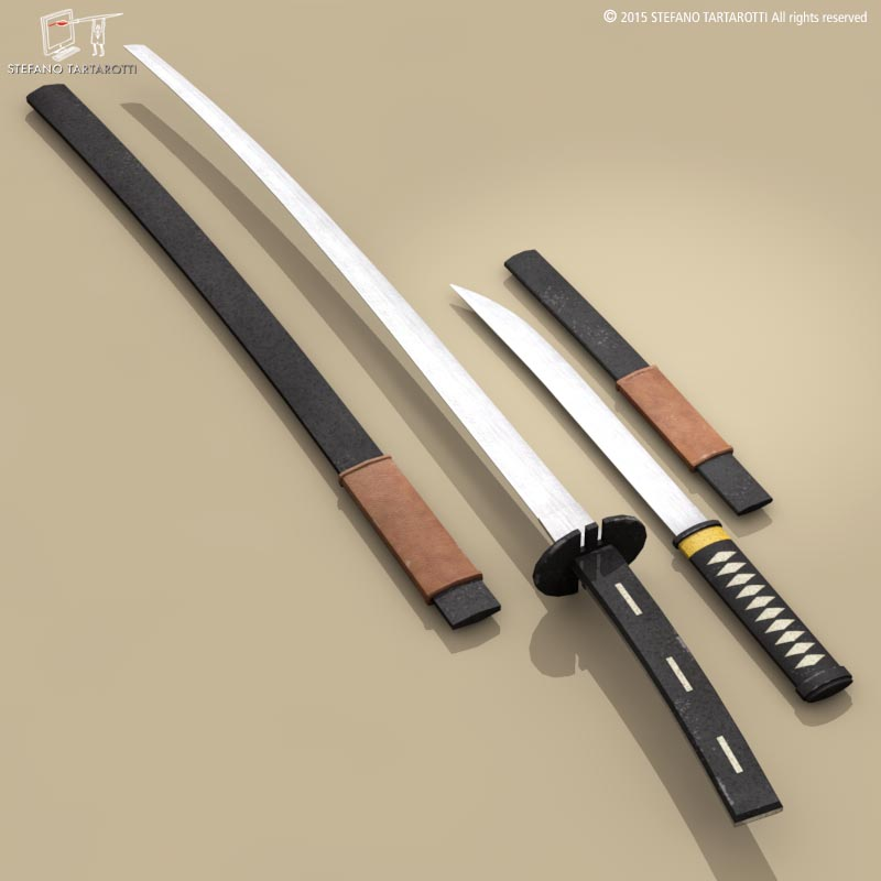 katana and wakizashi 3d model 3ds dxf fbx c4d dae obj 214679