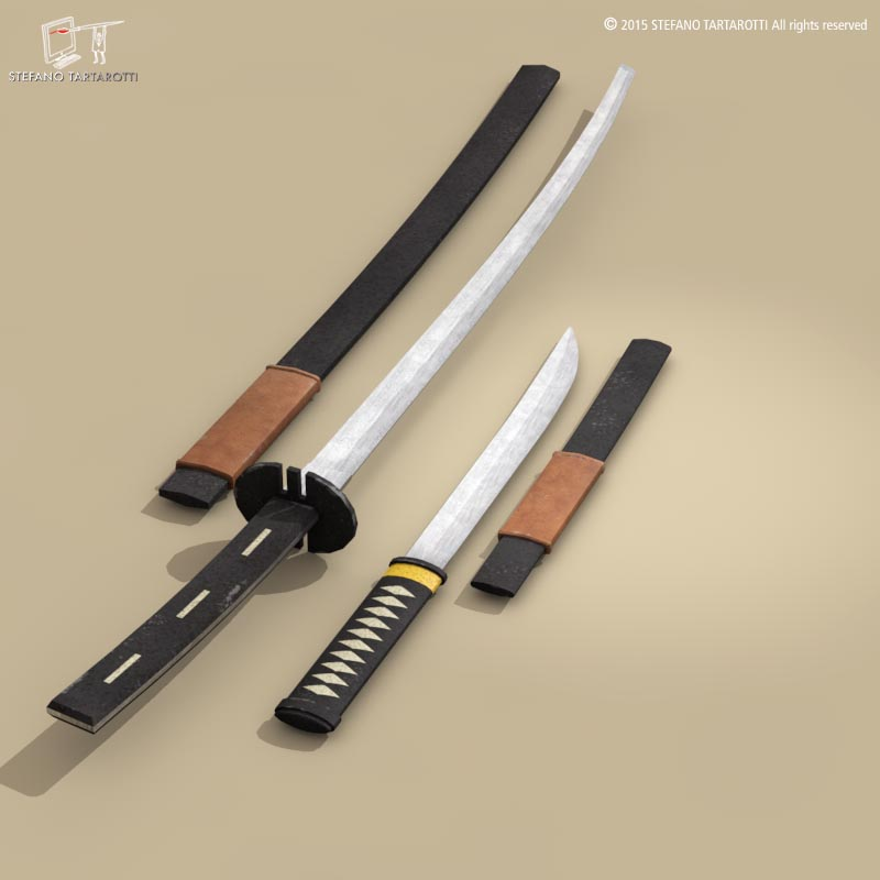 katana and wakizashi 3d model 3ds dxf fbx c4d dae obj 214680