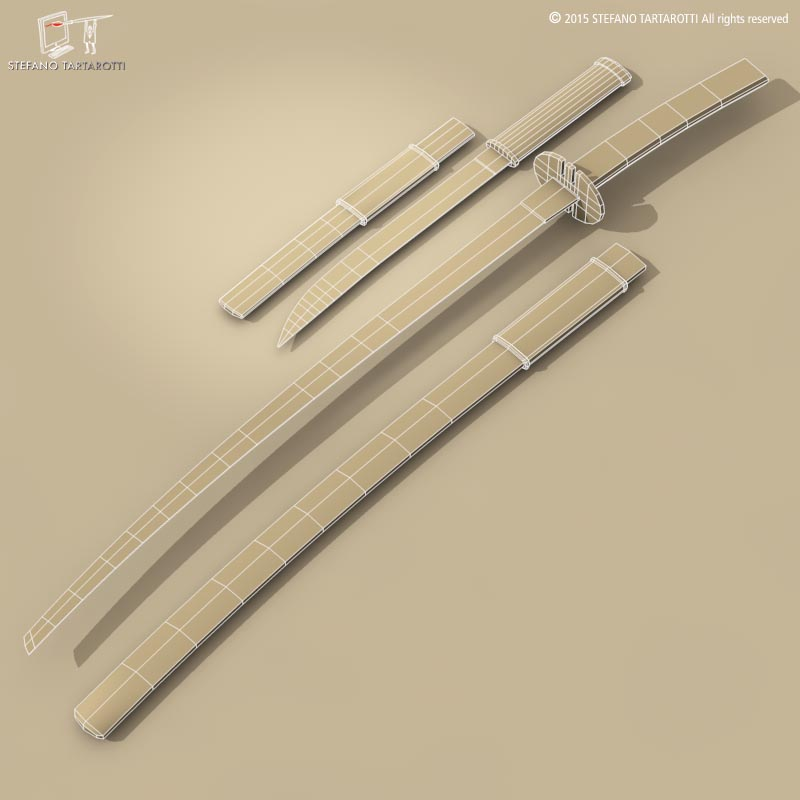 katana and wakizashi 3d model 3ds dxf fbx c4d dae obj 214681