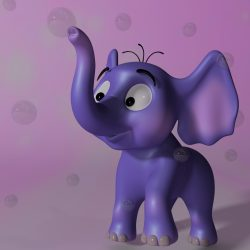 Cartoon baby elephant RIGGED 3d model 0