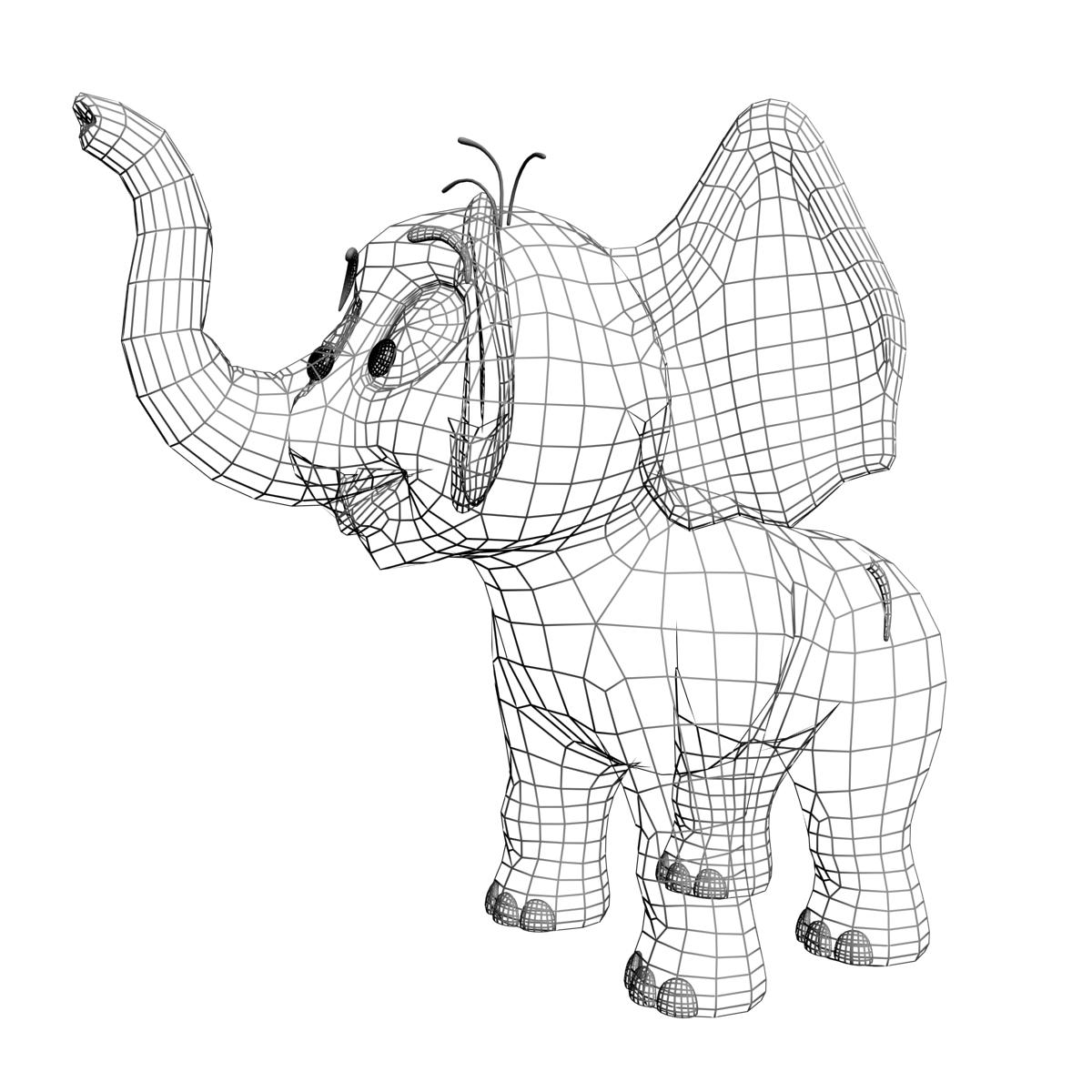 хүүхэлдэйн зааны заан 3d загвар 3ds max fbx obj 214749