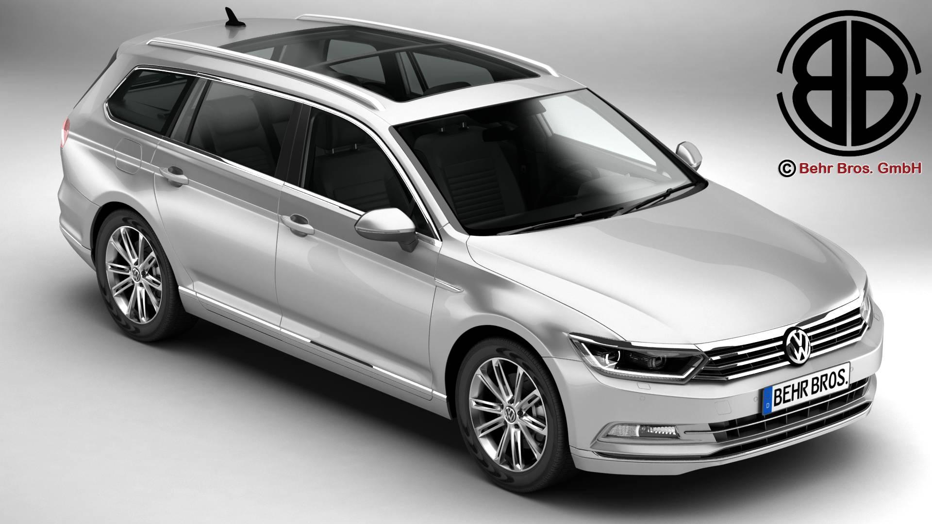 volkswagen passat variant 2015 3d model 3ds max fbx c4d lwo ma mb obj 214799