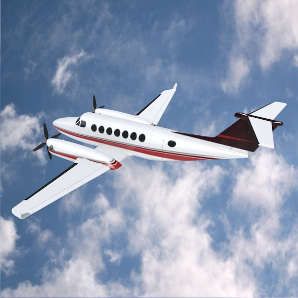 beech craft king air 350 propeller aircraft 3d model 3ds fbx blend dae lwo obj 214987