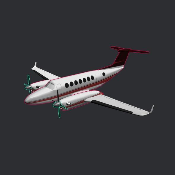 beech craft king air 350 propeller aircraft 3d model 3ds fbx blend dae lwo obj 214992