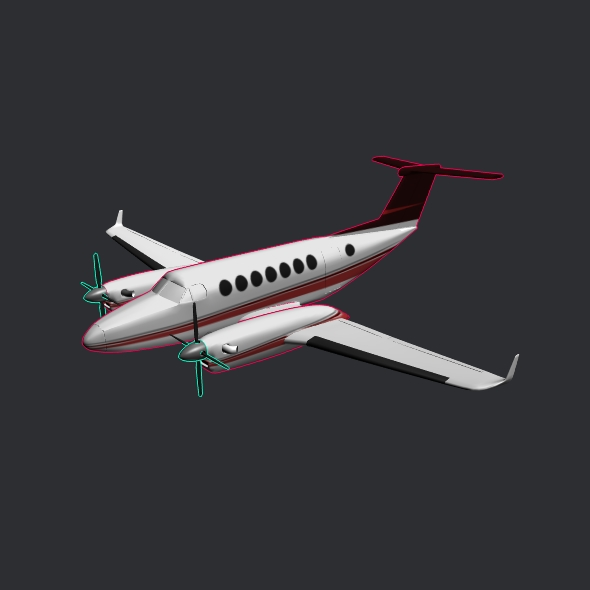 Beech craft King Air 350 propeller aircraft ( 47.8KB jpg by futurex3d )