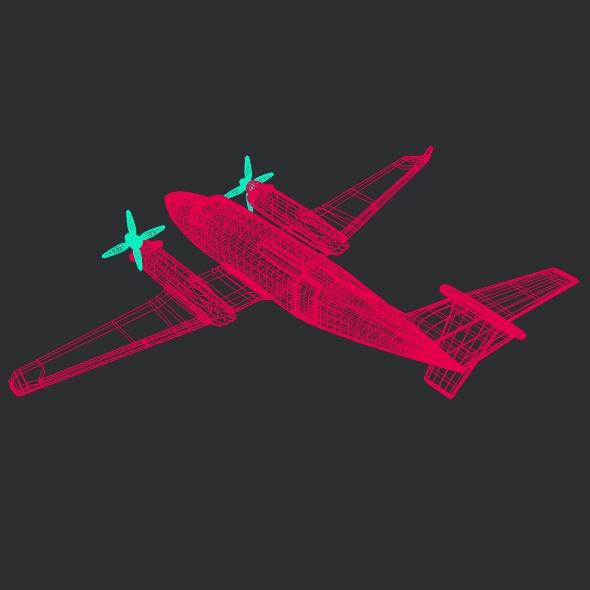 beech craft king air 350 propeller aircraft 3d model 3ds fbx blend dae lwo obj 214994