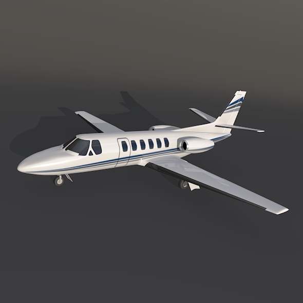 cessna 550 citation ii busnes jet 3d model 3ds fbx blend dae lwo obj 214997