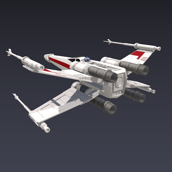 x wing spacecraft fighter 3d model 3ds fbx blend dae obj 215094